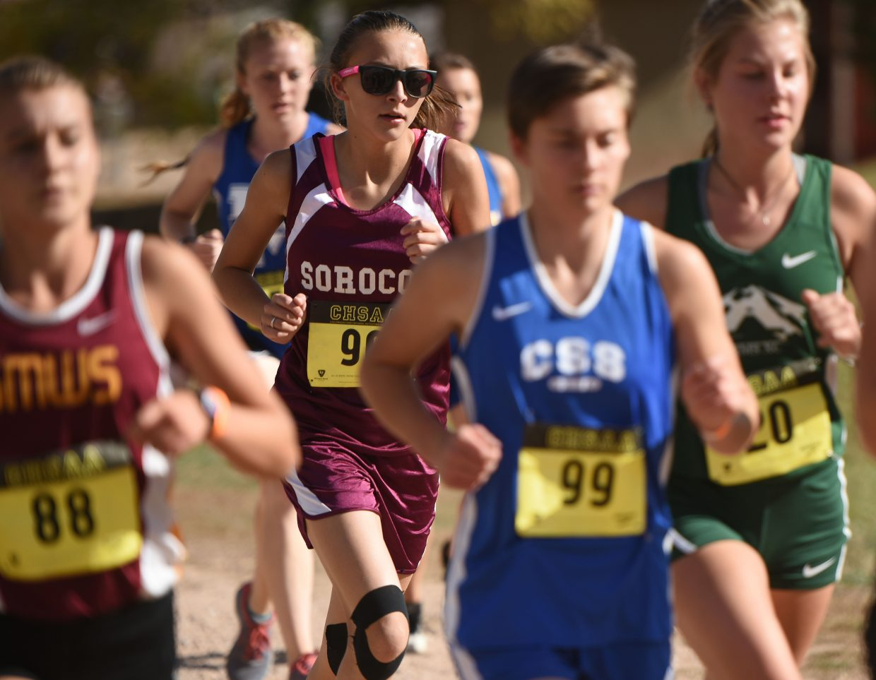 Soroco freshman Kourtney Bruner runs in the pack Saturday at the state cross country meet in Colorado Springs.