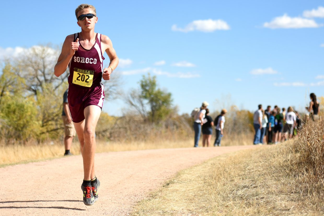 Ben Kelley runs Saturday at the Class 2A state cross country meet in Colorado Springs.