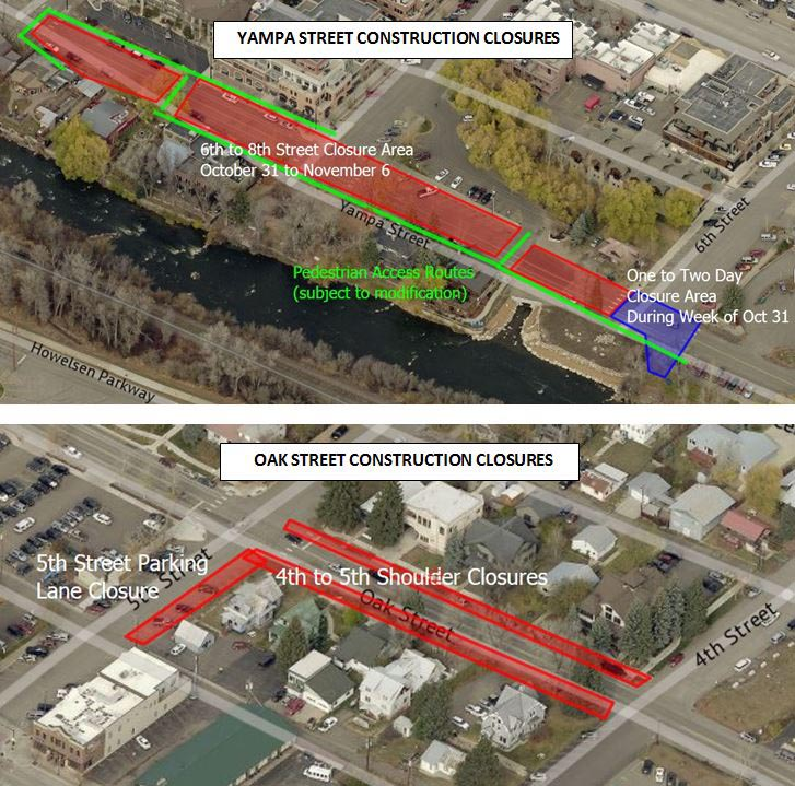 This map shows planned construction closures on Yampa and Oak streets from the week of Oct. 31.