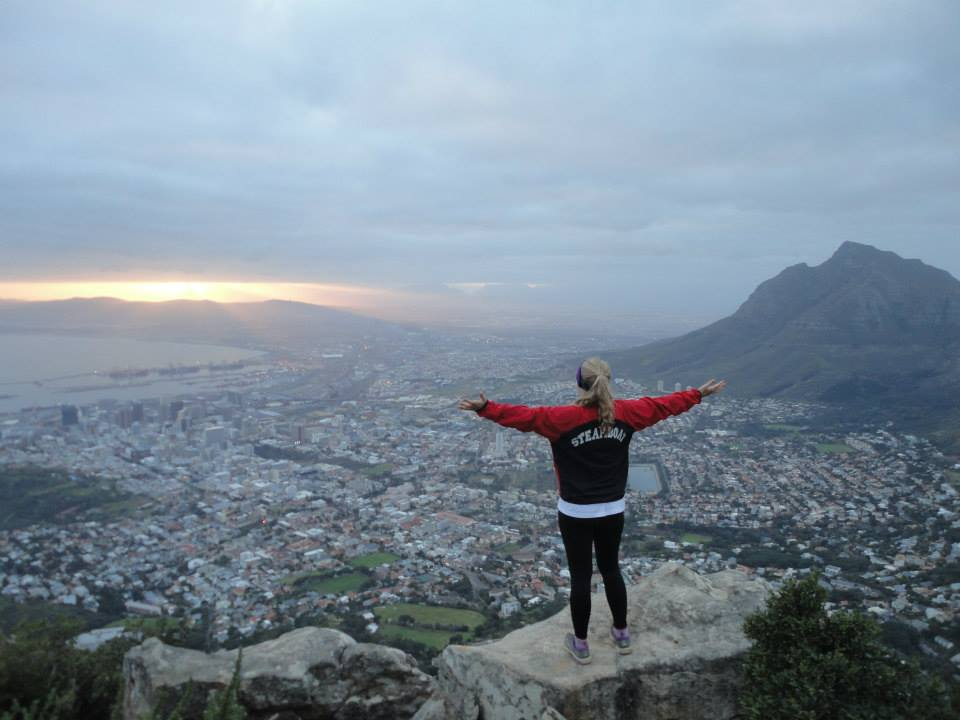 Anne Poirot, Steamboat runner, at top of Lion's Head at Cape Town, South Africa. Submitted by Janice Poirot.