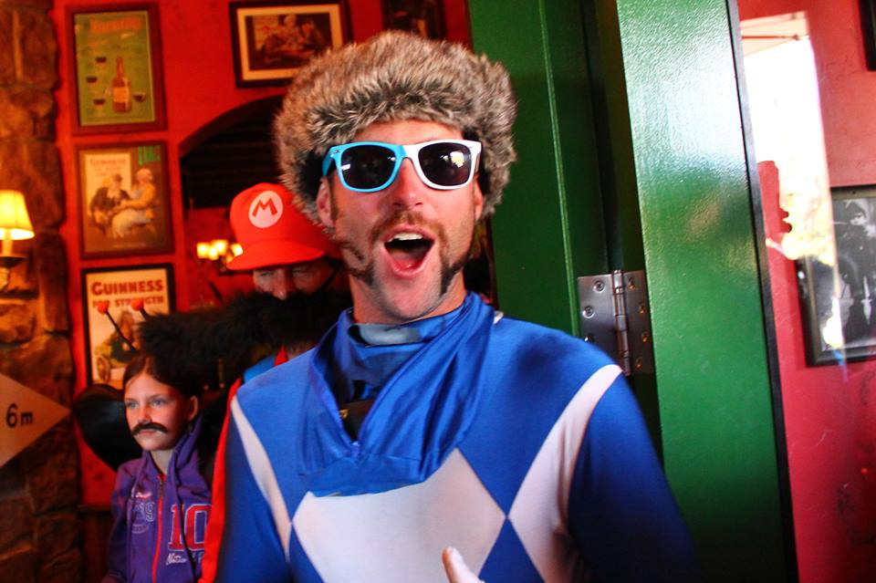 Torre Saterstrom poses for a photo at McKnight's Irish Pub & Loft as the first stop for last weekend's 2014 Mustache Ride. The ride raised over $11,000 for the Routt County Humane Society.