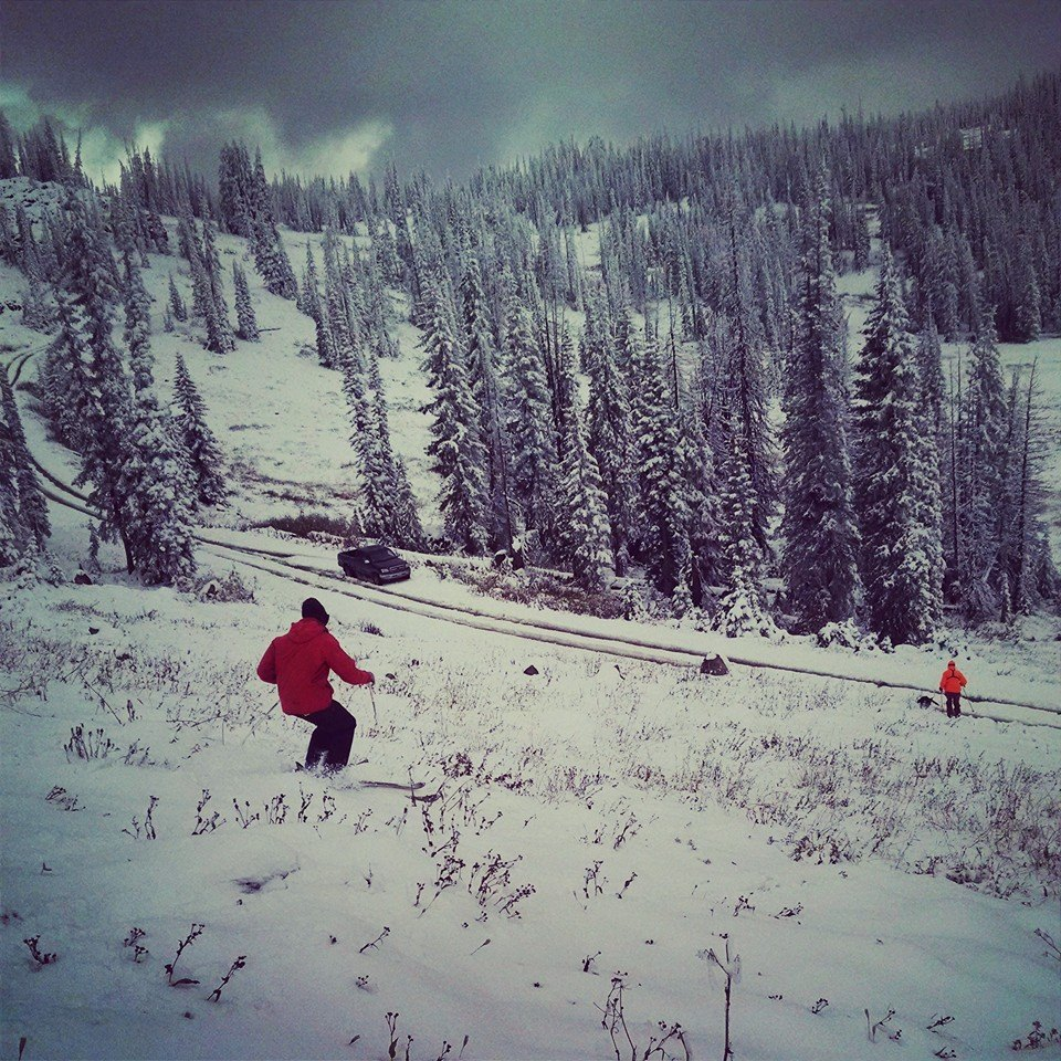 Derek Guimond and Jack Brown test out the snow over on Buffalo Pass Wednesday afternoon. Photo submitted by Derek Guimond.