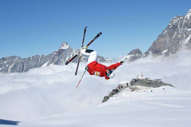 Sophia Schwartz, a mogul skier on the U.S. Olympic Ski Team, gets some air after throwing a big trick at a training camp in Zermatt, Switzerland, earlier this month.