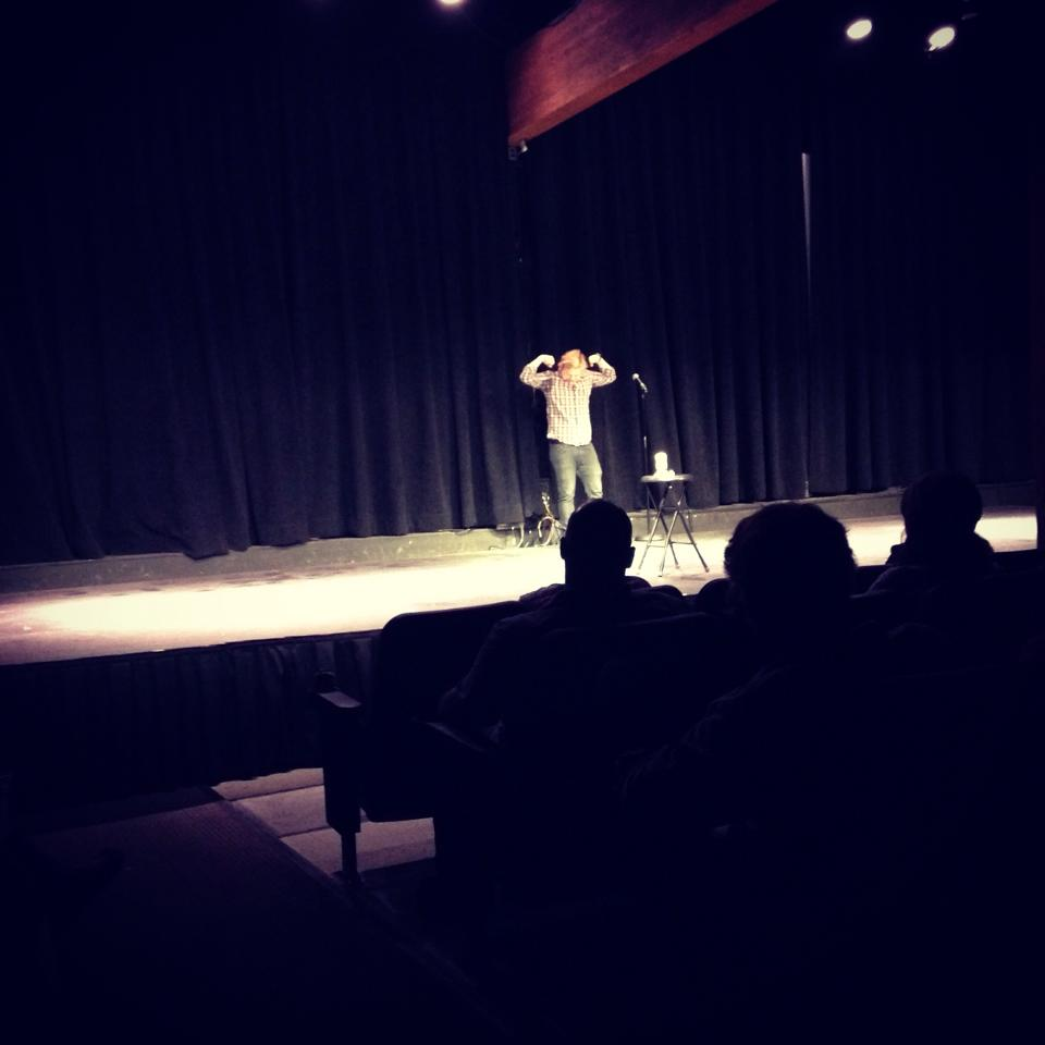 At the Chief Theater on Friday night, headlining act Chris Charpentier does a few comedic impersonations for his stand-up comedy show.