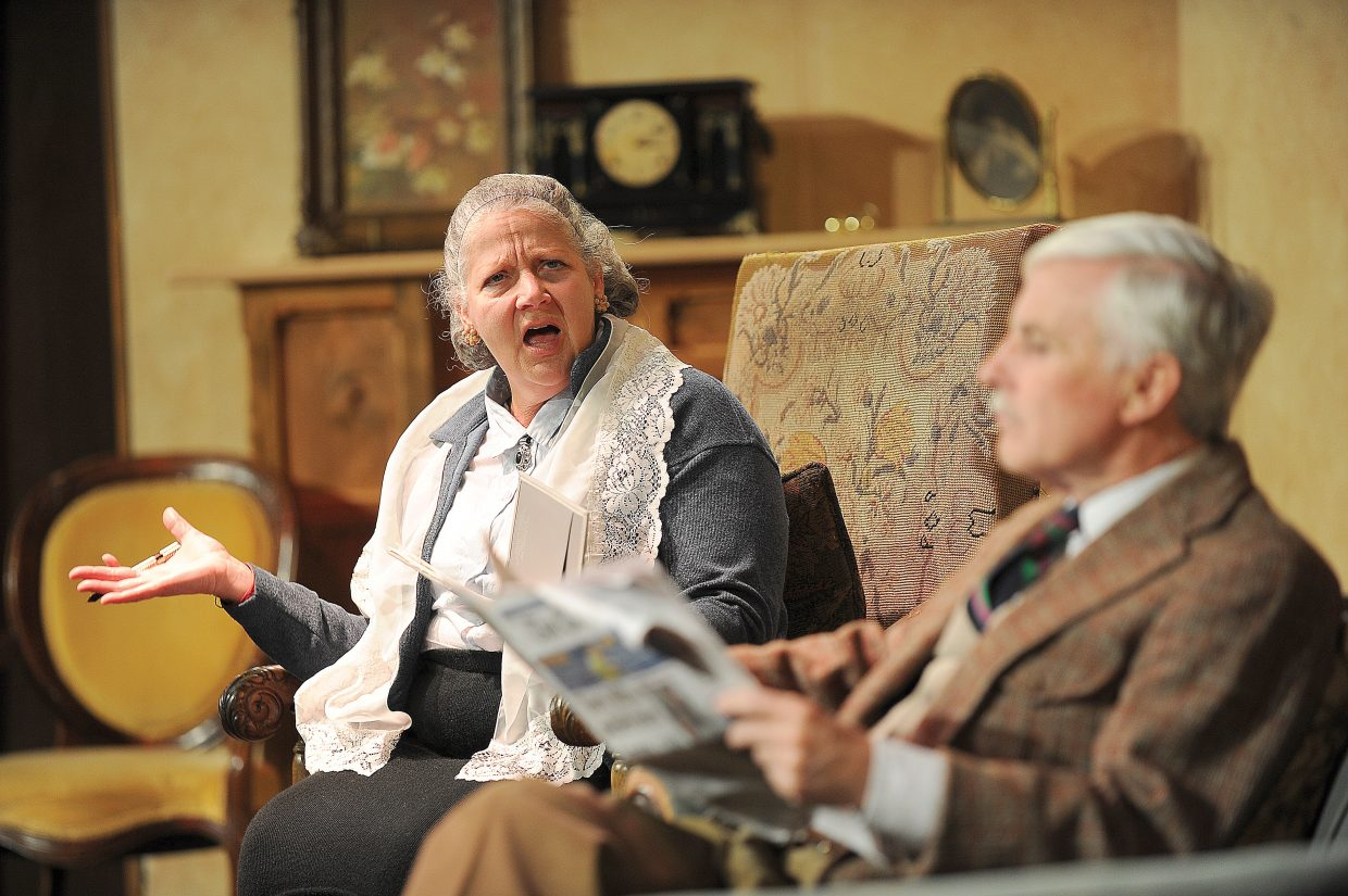 """Nina Rogers playing the part of Mrs. Boyle shares a scene with Bill Cousins playing Major Metcalf in Agatha Christie's """"The Mousetrap."""" The production opens with a 7 p.m. performance Friday. Doors open at 6:30 p.m. and tickets are available at All That Jazz or at www.chieftheater.com and are $15 for adults and $10 for students."""