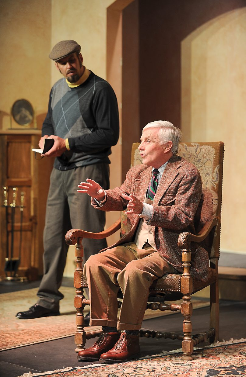 "Chad McGown playing the part of Sergeant Trotter in Agatha Christie's ""The Mousetrap"" questions Bill Cousins, who plays the part of Major Metcalf."