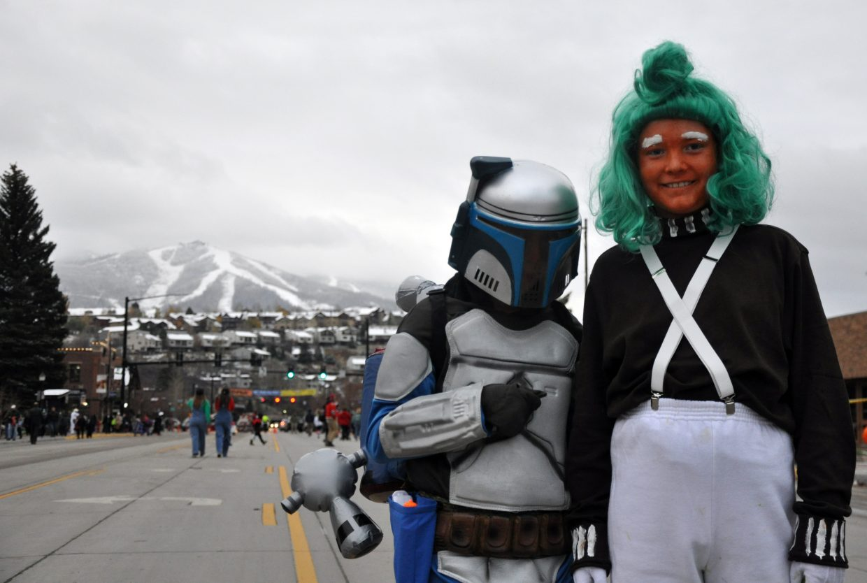 Jango Fett and an Oompa Loompa hang out at the Steamboat Springs Halloween Stroll.
