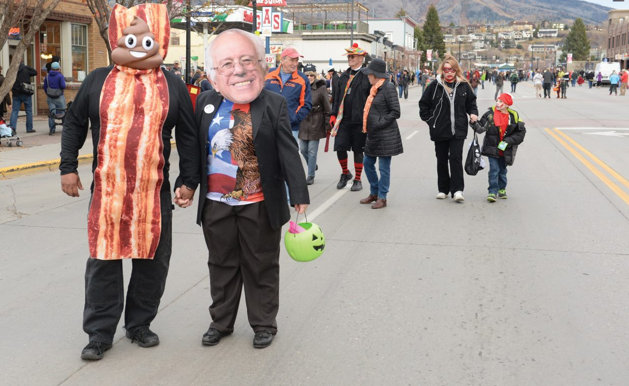 Begee, right, and Erin Biggs (or Bernie Sanders) were decked out for Monday's Steamboat Downtown Halloween Stroll on Lincoln Avenue.