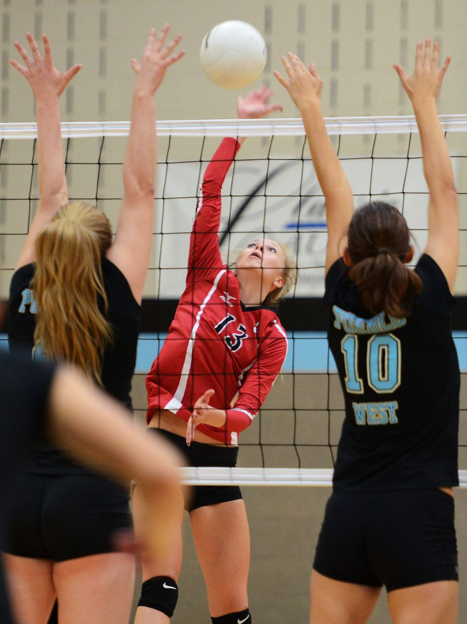 Steamboat's Erica Yaw hits the ball Saturday.