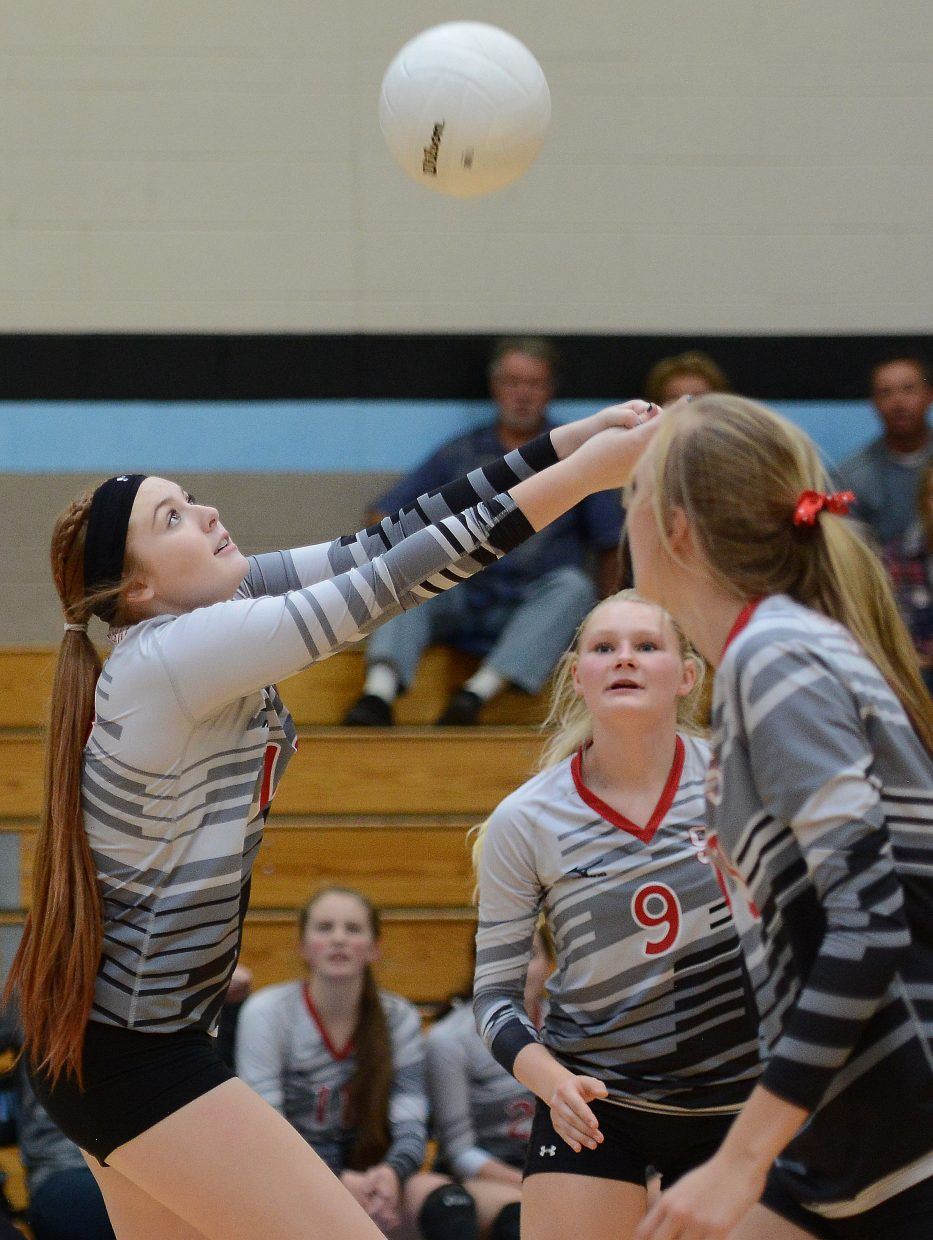 Hayley Johnson reaches for the ball Saturday.