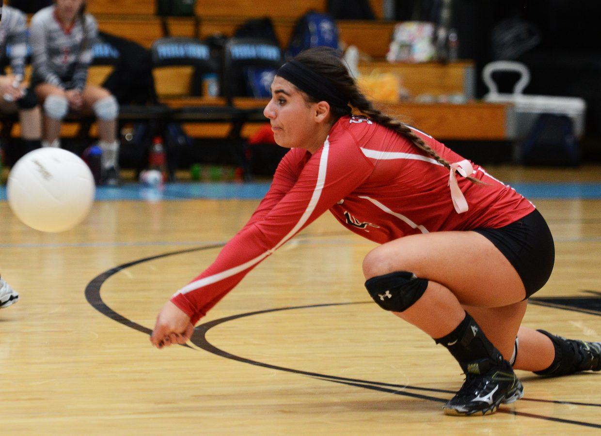 Maddie Labor gets low for a dig Saturday.