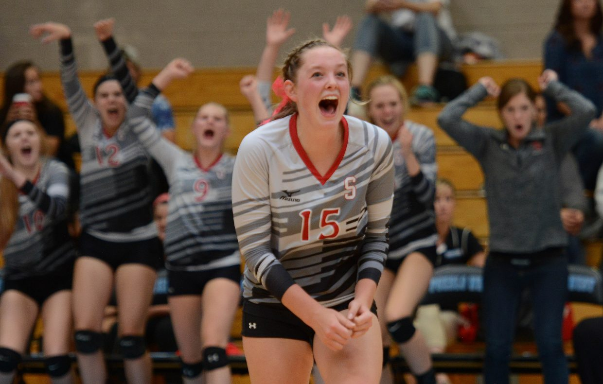 Steamboat's Jenna Miller celebrates a point Saturday.