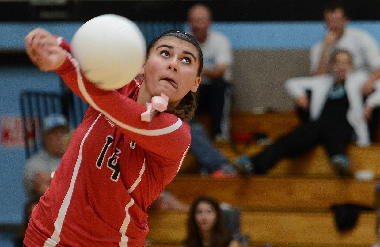 Steamboat's Maddie Labor gets her arms on a ball Saturday at the regional volleyball tournament.