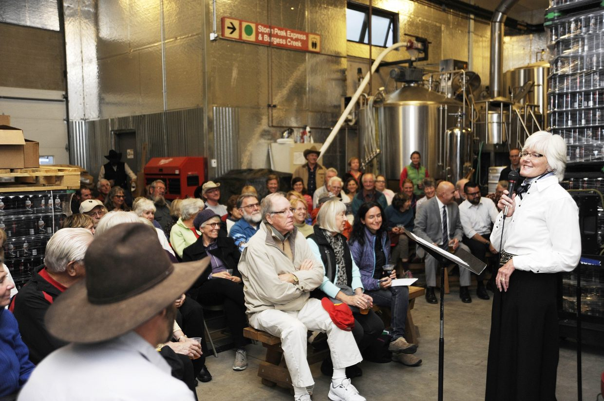 Community Ag Alliance Executive Director Marsha Daughenbaugh speaks about ranching history Tuesday during the History Happy Hours event at Butcherknife Brewing Company. The talks are organized by the Tread of Pioneers Museum and are held the first Tuesday of every month. Attendees get a free beer.