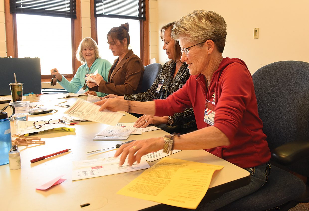 Election judges Janet Panebaker, Karen Fox, Julie Franklin and Barb Ficke process ballots Tuesday afternoon at the Routt County Courthouse in downtown Steamboat Springs. The counting of ballots is a tight process with several steps to ensure that every vote is counted, and that the identity of the each voter is protected at every step of the process. Officials said that by 3:30 p.m. Tuesday more than 7,300 ballots had been processed and scanned at the courthouse.