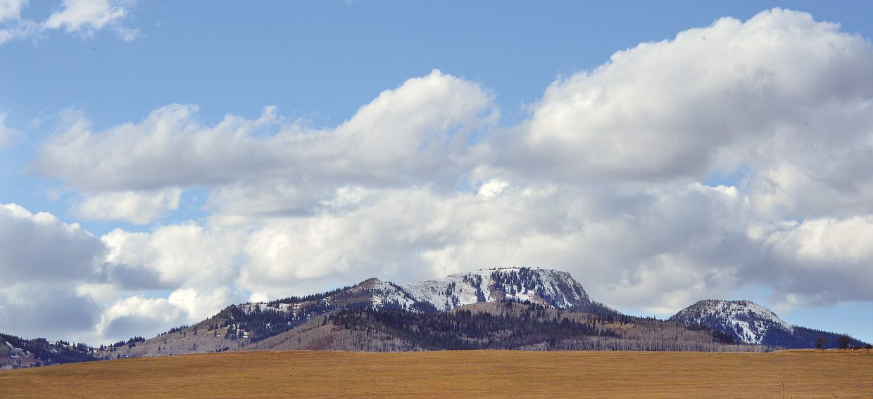A fresh layer of snow covers Sand Mountain in North Routt County.