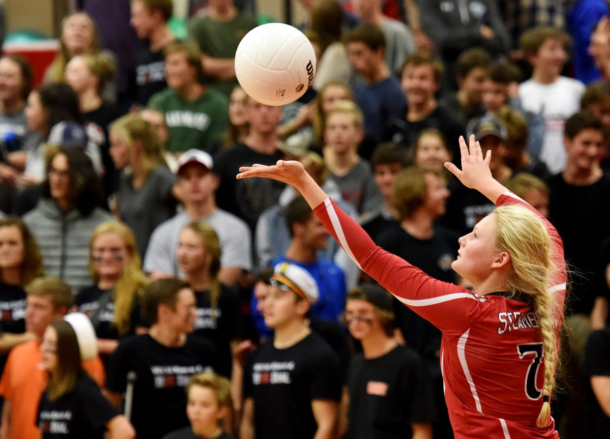 Maritza Wiedel tosses up a serve during a match last month in Steamboat Springs. After finishing the regular season 19-3 and as Western Slope League champions, the Sailors volleyball team earned the chance to play its regional tournament pod at home on Saturday.