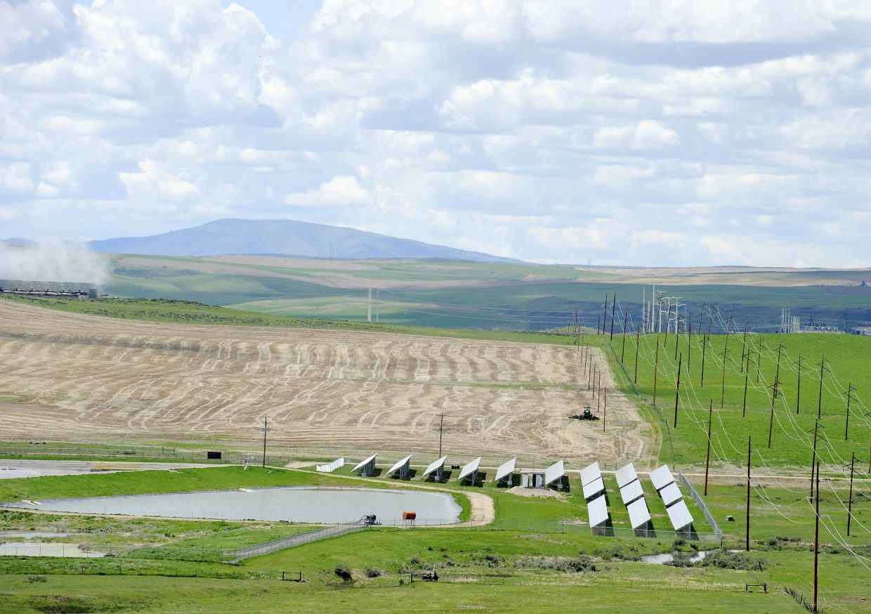 The 577-kilowatt community solar garden system sits on four acres, between the power plant and Trapper Mine, and would need to be 9,033 acres to produce as much power as the neighboring power plant.