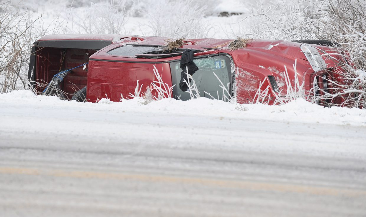 Icy roads made for tricky driving conditions Monday morning. This pickup slid off the road and rolled near the Shop & Hop Food Store on U.S. Highway 40 south of town.