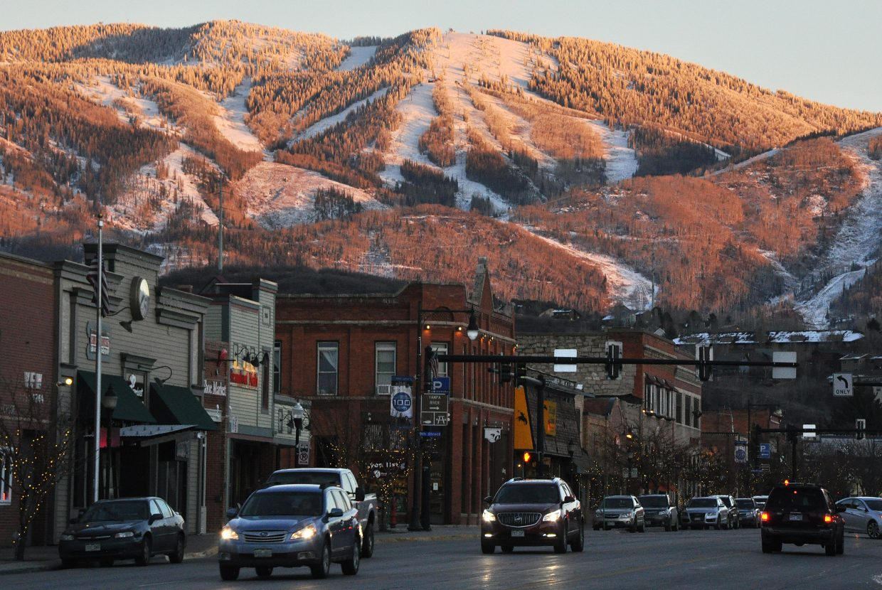 Traffic moves through downtown Steamboat Springs.