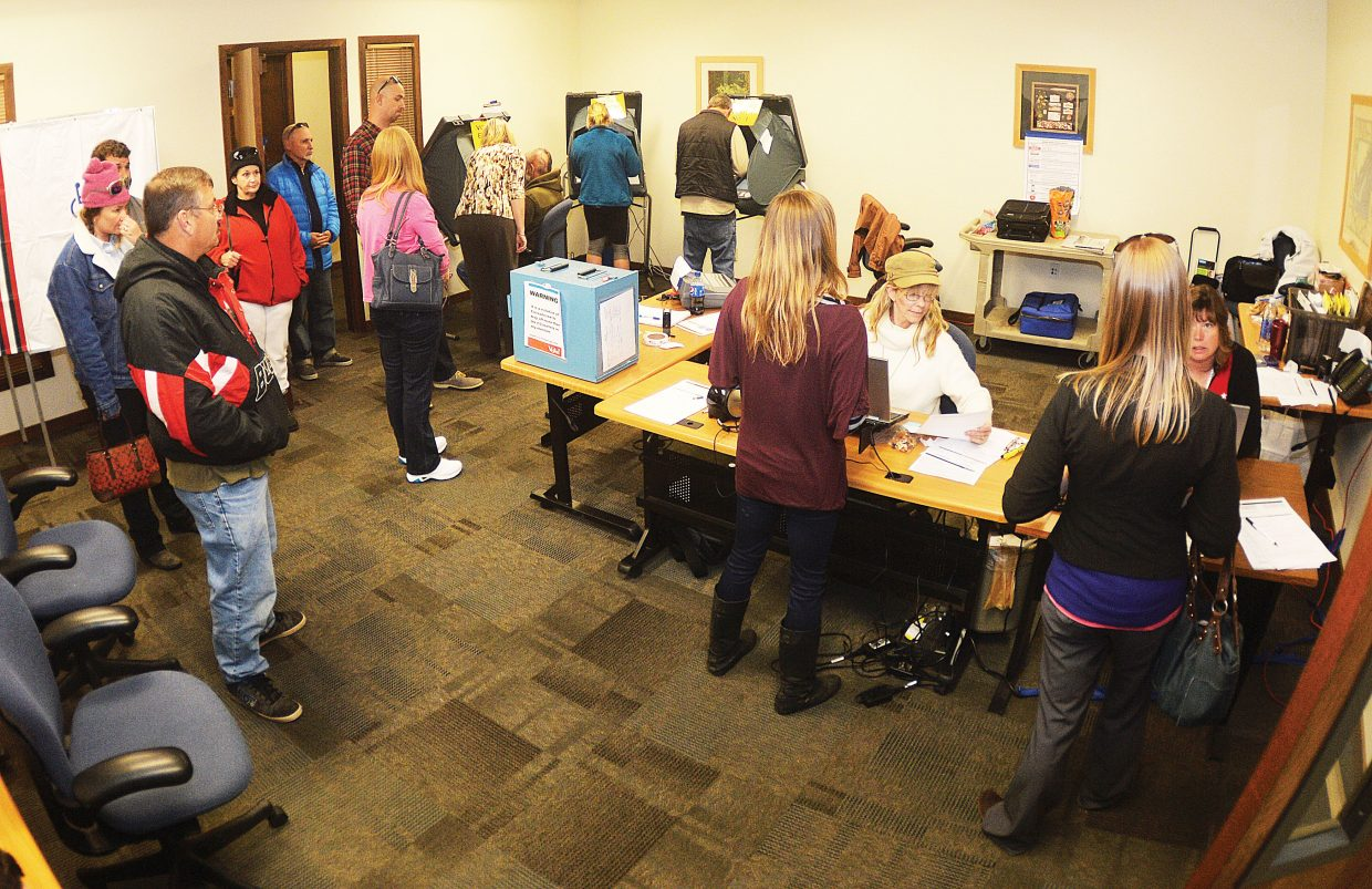 It was a busy scene inside the Voter Service and Polling Center at the annex of the Routt County Courthouse on Tuesday afternoon. Tuesday was the last day to cast your votes in this year's mail-in election. Some people in the annex were looking for replacement ballots, figuring out registration questions or simply wanted to vote in person.