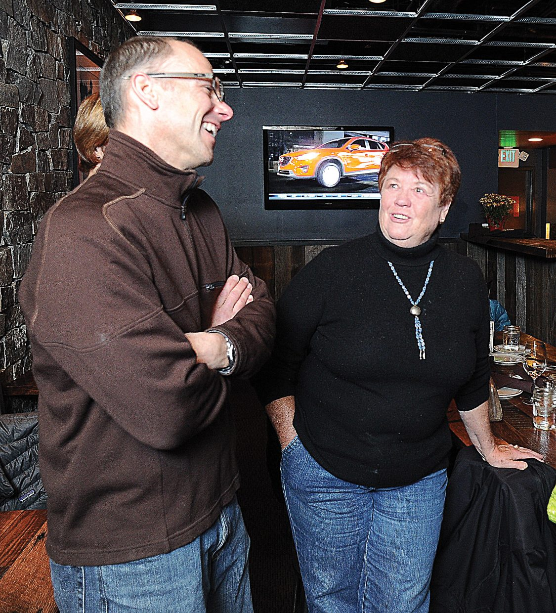 David Scully was all smiles as he visited with Tracy Barnett, manager of Mainstreet Steamboat Springs, and other 2A supporters Tuesday evening. The group gathered at Carl's Tavern on Yampa Street in downtown to celebrate the victory.