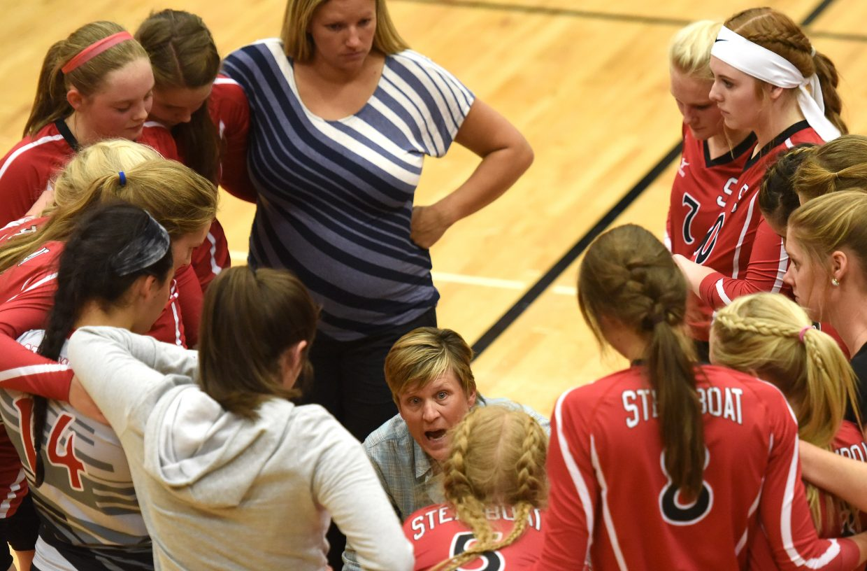 Steamboat coach Wendy Hall addresses her team during a match earlier this season. The Sailors will attempt to continue their season starting at 11 a.m. Saturday as they play in the regional volleyball tournament in Steamboat.