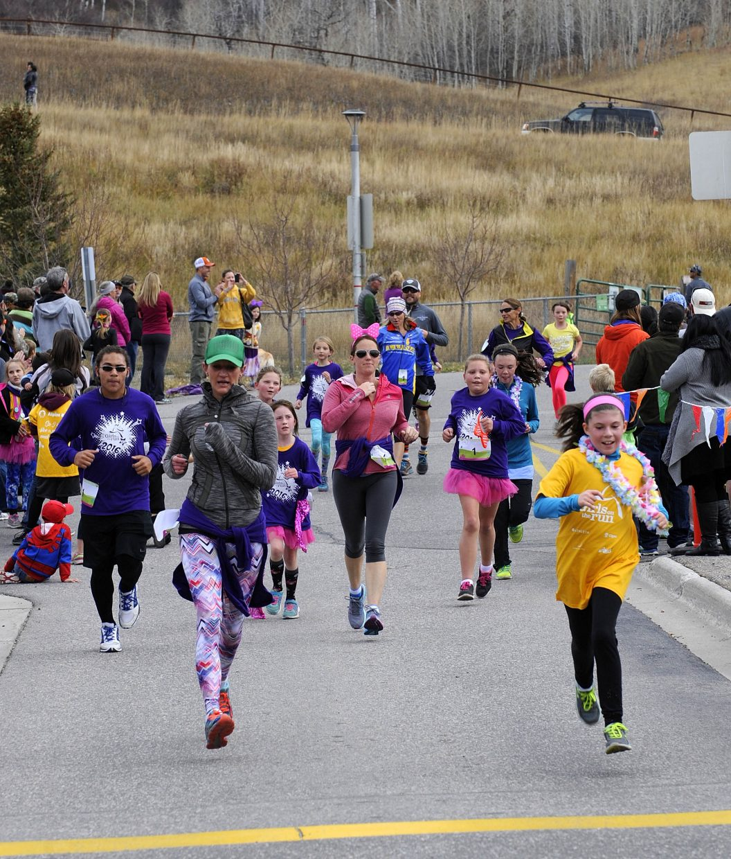 Runners approach the finish line during the Girls on the Run event in Steamboat Springs.