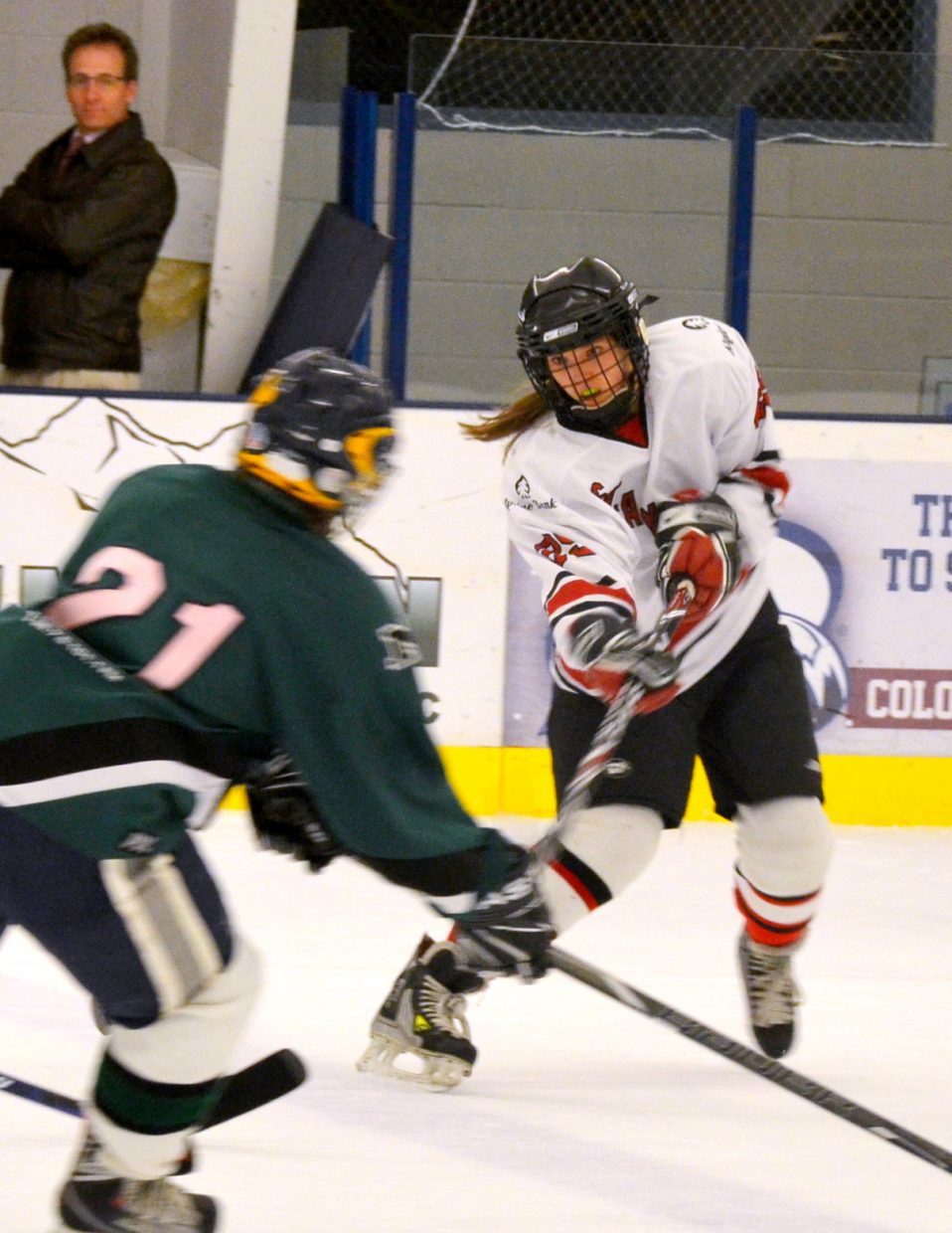 Kelly Borgerding plays during the weekend in Aspen's Fall Face Off hockey tournament.