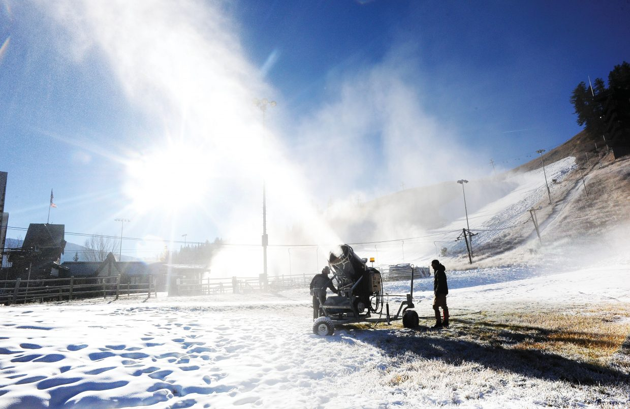 Snowmakers Corey Custer, right, and Lance Janak shut down one of the bigger snow guns at Howelsen Hill on Thursday morning. The crews have been making snow since Sunday despite higher-than-ideal daytime temperatures. They may get some help early next week as a cool-down is expected for much of Colorado.