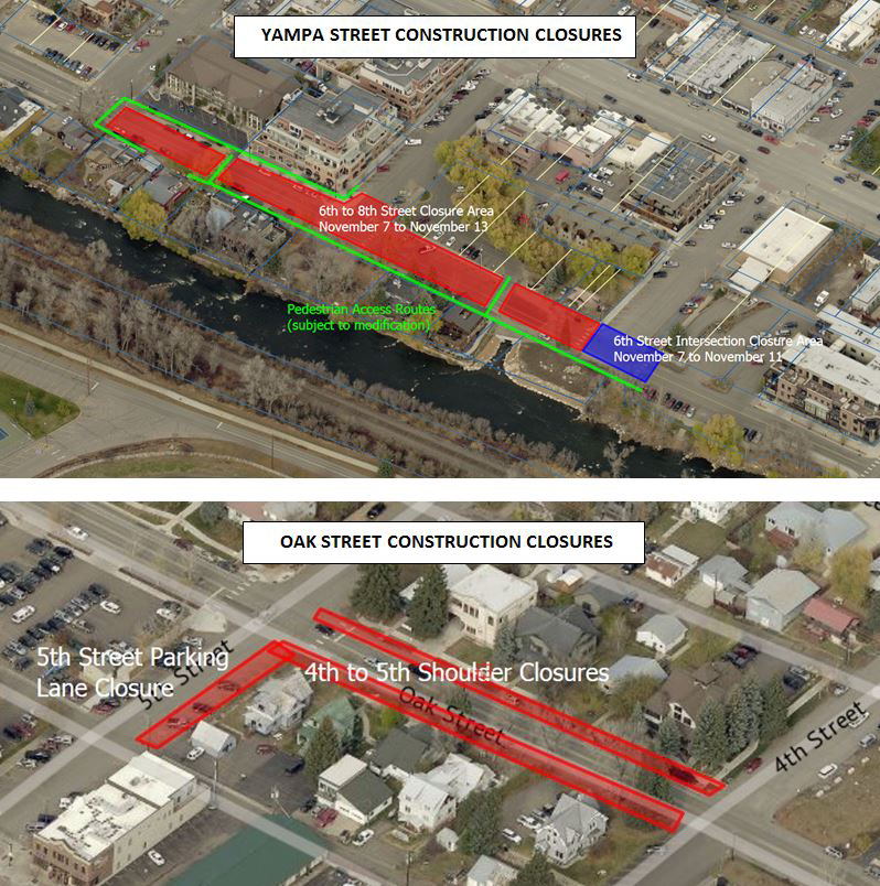 These maps show planned construction closures on Yampa and Oak streets for the week of Nov. 7.