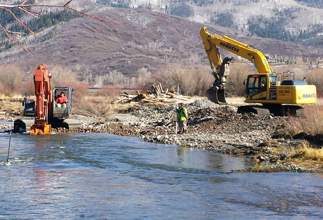 Work is within two weeks of wrapping up on the third phase of a long, expensive project in the Yampa River designed to make a section southeast of Steamboat Springs a premier rainbow trout fishery.