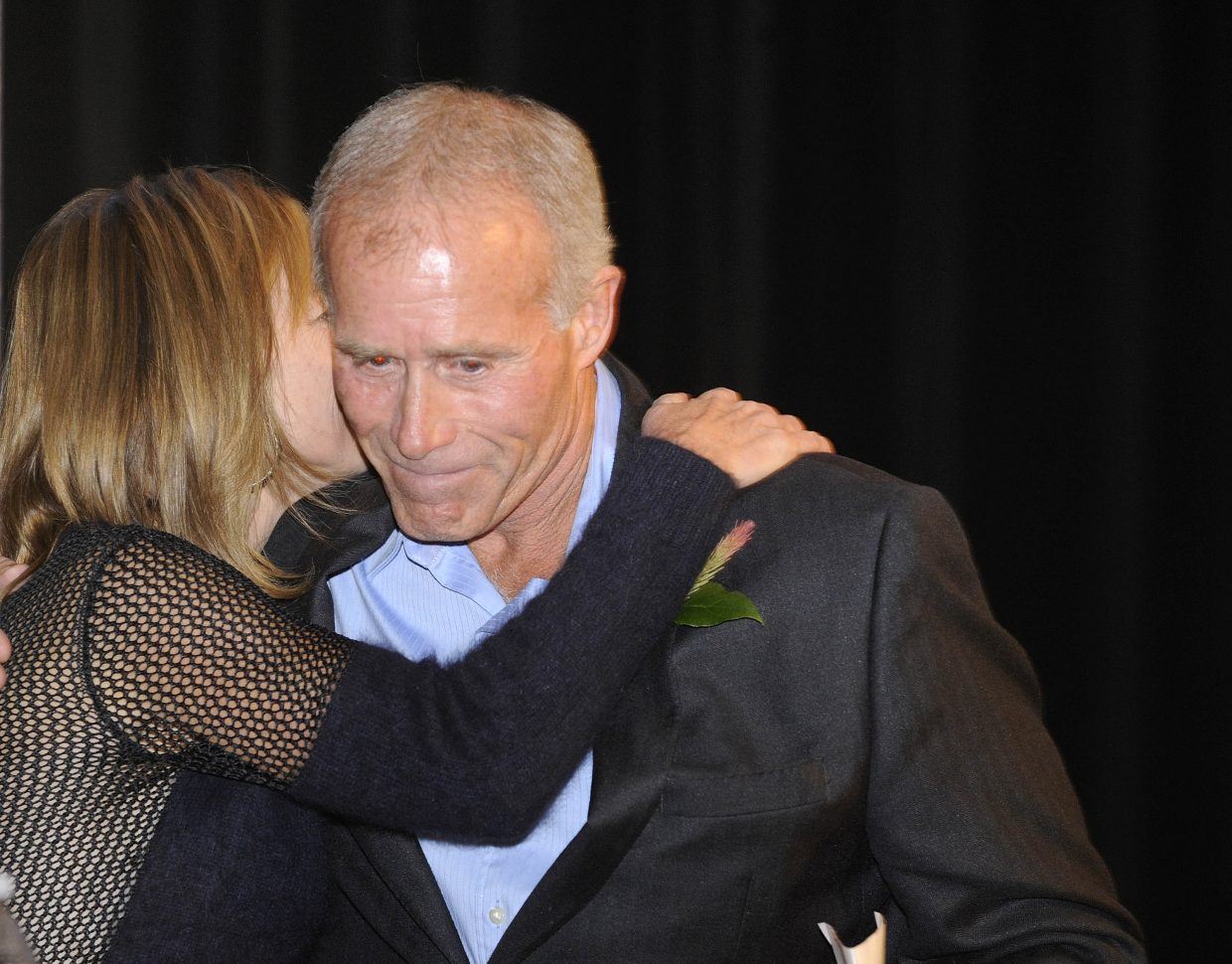 Business Person of the Year Ed MacArthur is congratulated during the Navigator Awards on Friday night at the Strings Music Pavilion.