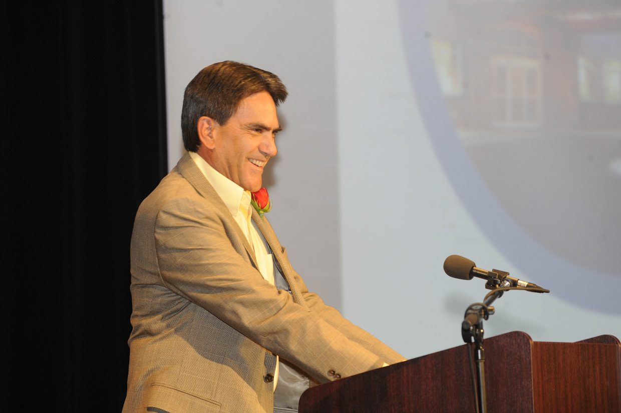 Yampa Valley Medical Center CEO Frank May speaks while accepting the Business of the Year award.
