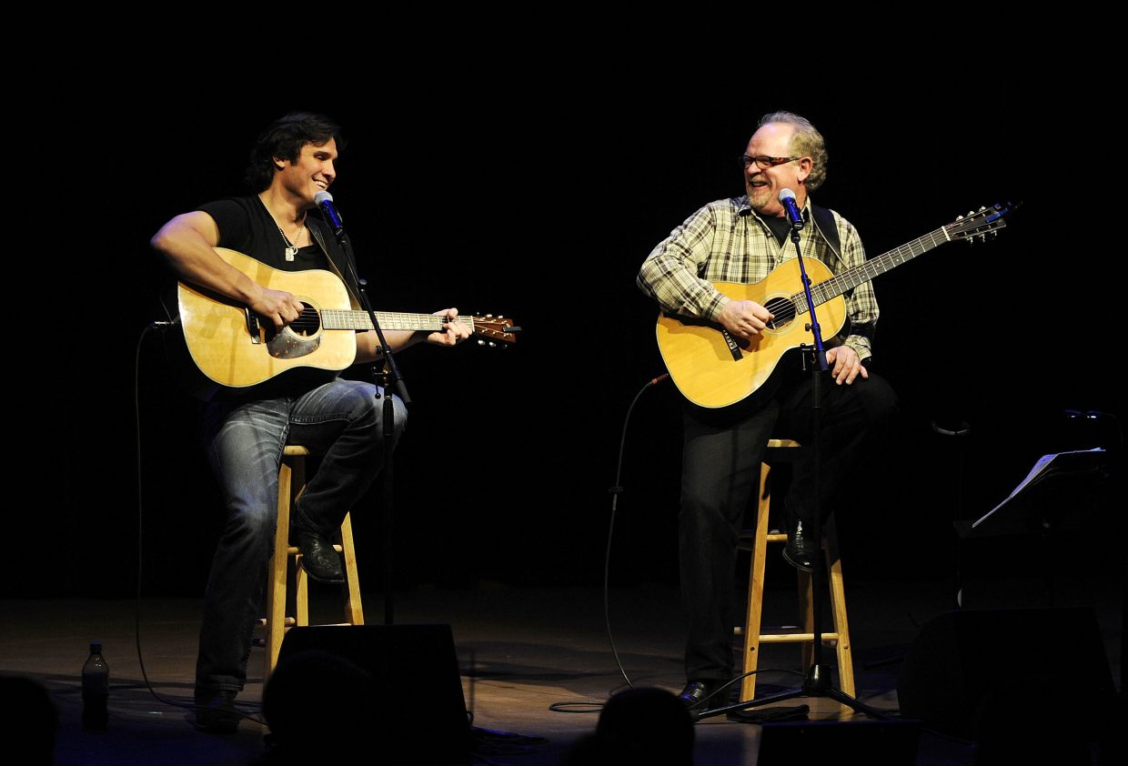 Brent Rowan, right, and country star Joe Nichols joke between songs during the Navigator Awards on Friday night at the Strings Music Pavilion.