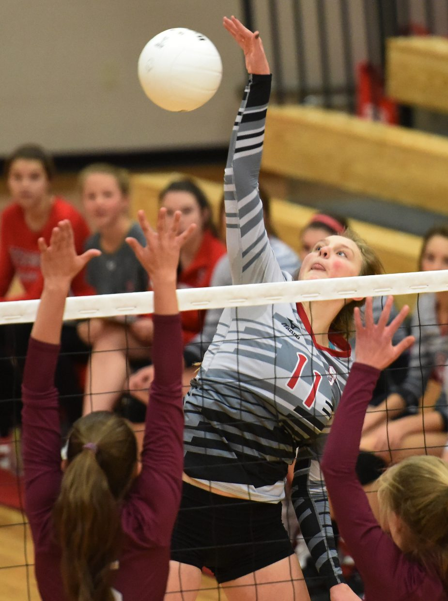Annie Osbourn smacks a ball Saturday during the regional volleyball tournament.