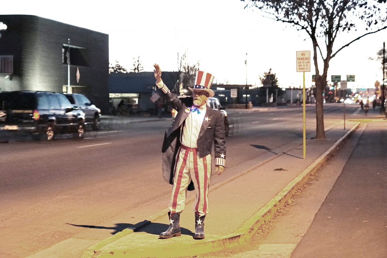 Outside Moffat County Courthouse, Danny Griffith dresses as Uncle Sam and reminds folks to vote in the 2016 Presidential Election. About 86 percent of voters registered to vote in Moffat County cast their ballots.