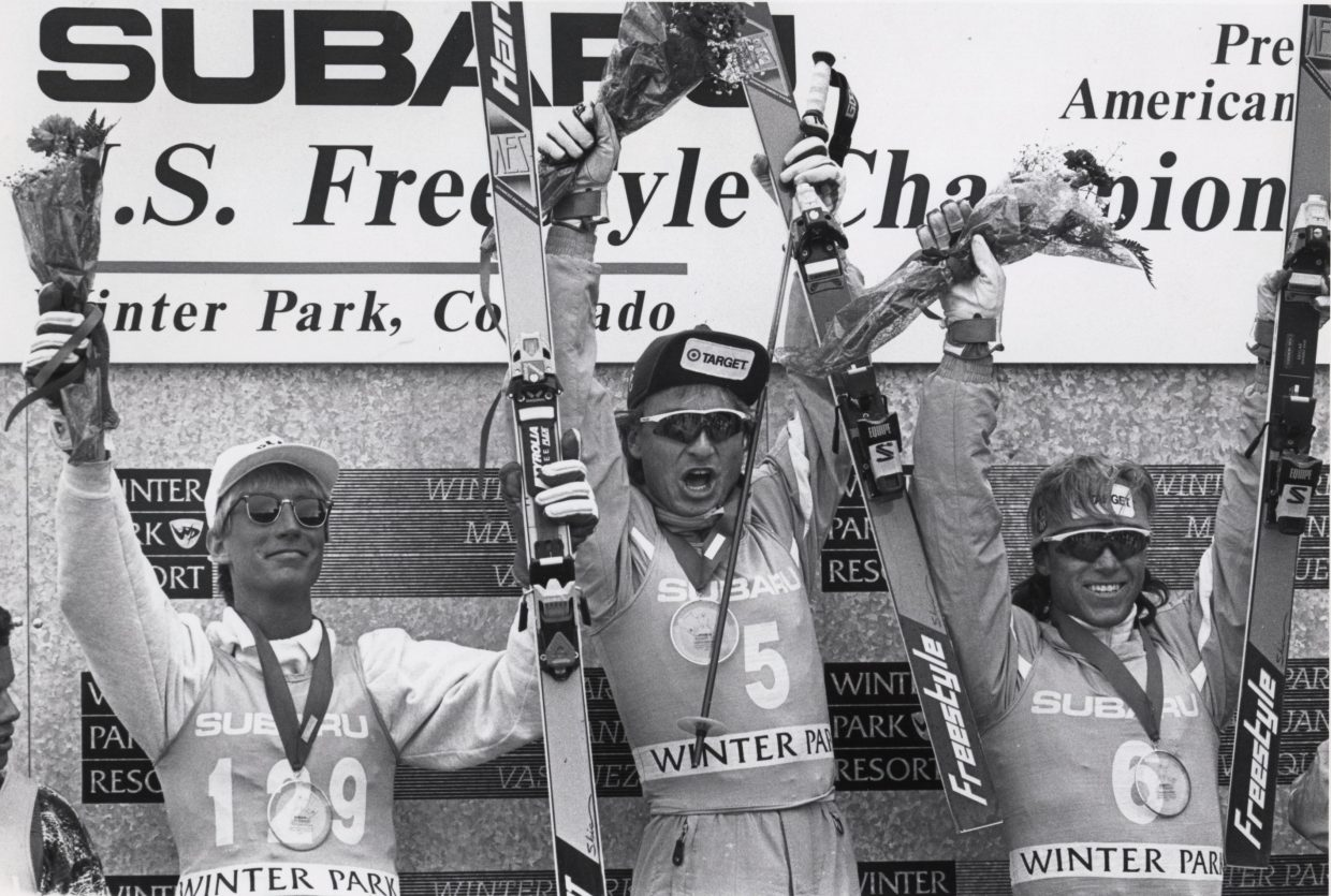 """Kris """"Fuzz"""" Feddersen, center, celebrates a victory in the 1992 U.S. Freestyle Championships at Winter Park. Feddersen grew up skiing in Steamboat Springs and spent 14 years on the U.S. Freestyle Ski Team. He was elected recently to the U.S. Ski and Snowboard Hall of Fame."""