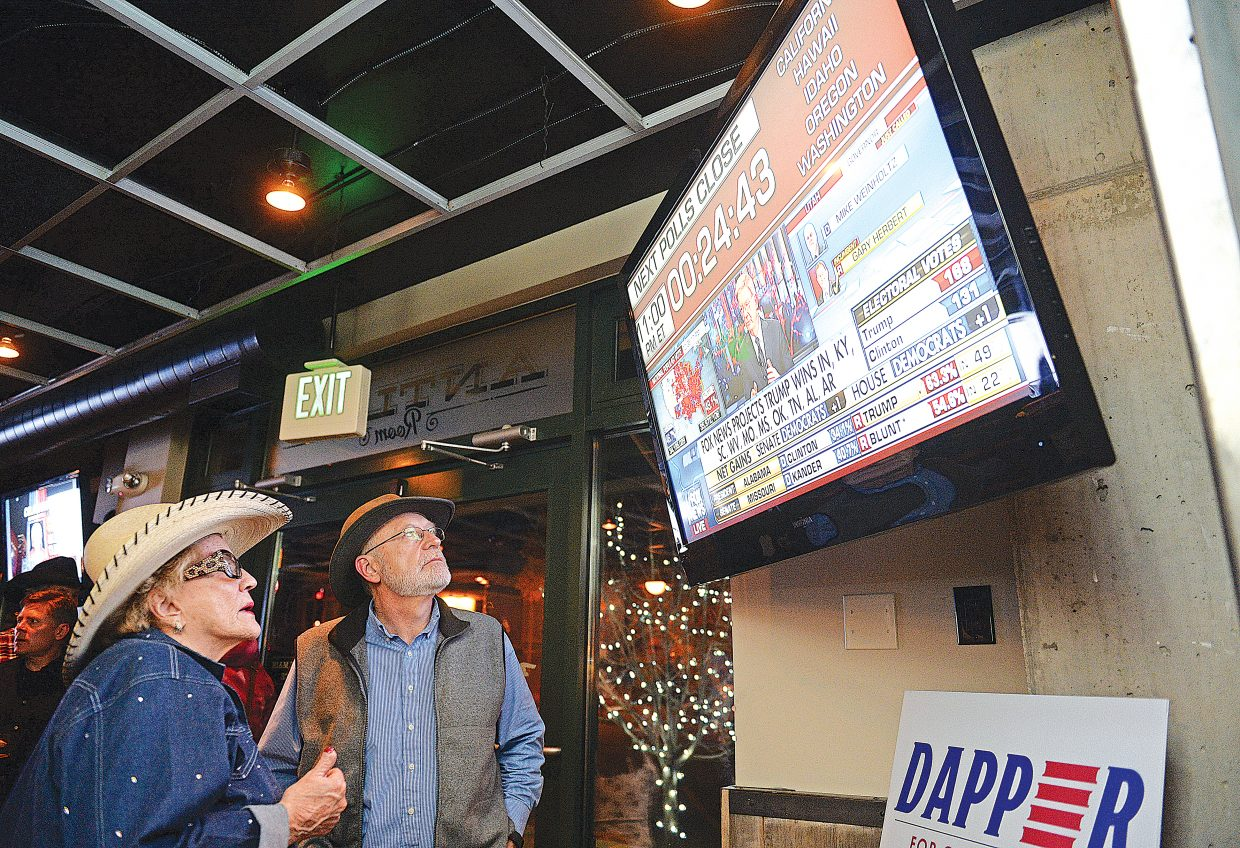 Cookie Lockhart and Jim Clark watch election results roll in at Carl's Tavern during the Routt County Republicans watch party Tuesday evening.