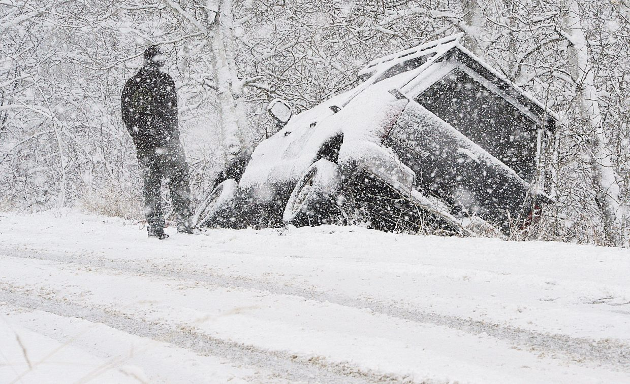 Monday proved to be a tough day for drivers in the Steamboat Springs area as heavy snow and slick road conditions moved into the area by mid-morning. This driver who slid off of Burgess Creek Road was not alone as tricky driving conditions caught many drivers off guard.