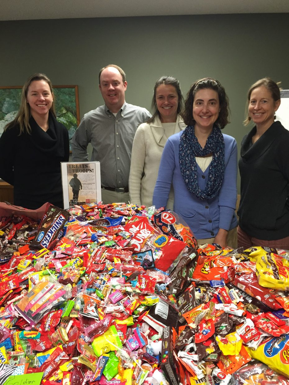 In cooperation with Operation Gratitude, Wells Fargo Advisors is collecting unopened Halloween candy to share with the men and women of the United States Armed Forces. The local Wells Fargo team collected more than 200 pounds of candy between Nov. 2 and Nov. 10 at the downtown branch. Pictured, from left, are Laura Cusenbary, Dan Sturges, Eileen Allen, Jennifer Stoddard and Christina Freeman. Packages will ship Friday to Operation Gratitude, where the organization will distribute holiday care packages to troops and first responders globally.
