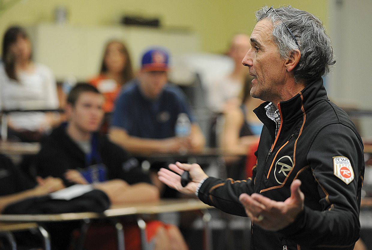 John Underwood, director of American Athlete Institute, talks to a group of co-captains and team leaders during a presentation at the Steamboat Springs High School Monday afternoon.