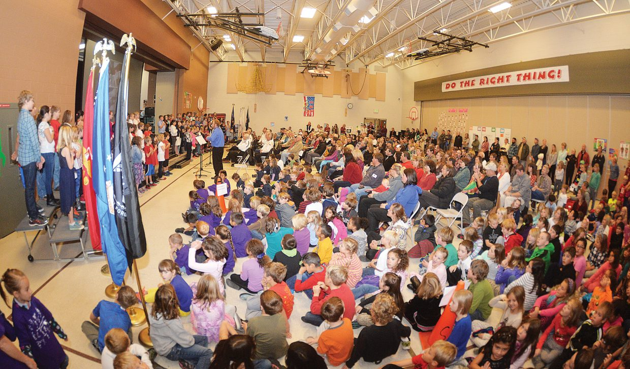 The auditorium at Soda Creek Elementary School was packed Tuesday morning as students, parents and community members came out for a program to recognize Steamboat Springs veterans and their contributions. The program included students talking about the history of Veterans Day along with a patriotic selection of music.