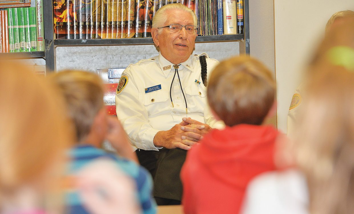 Veteran Van Fletcher talks to fifth grade students at Strawberry Park Elementary School on Veterans Day. Steamboat Springs veterans spent much of the holiday speaking to schools and attending special assemblies at both Strawberry Park and Soda Creek elementary schools.
