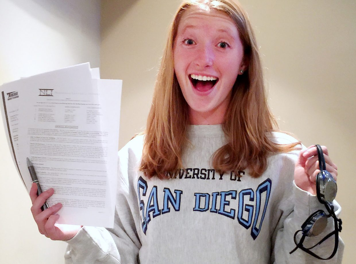 Steamboat Springs swimmer Samantha Terranova signed on Wednesday to swim collegiately with University of San Diego.