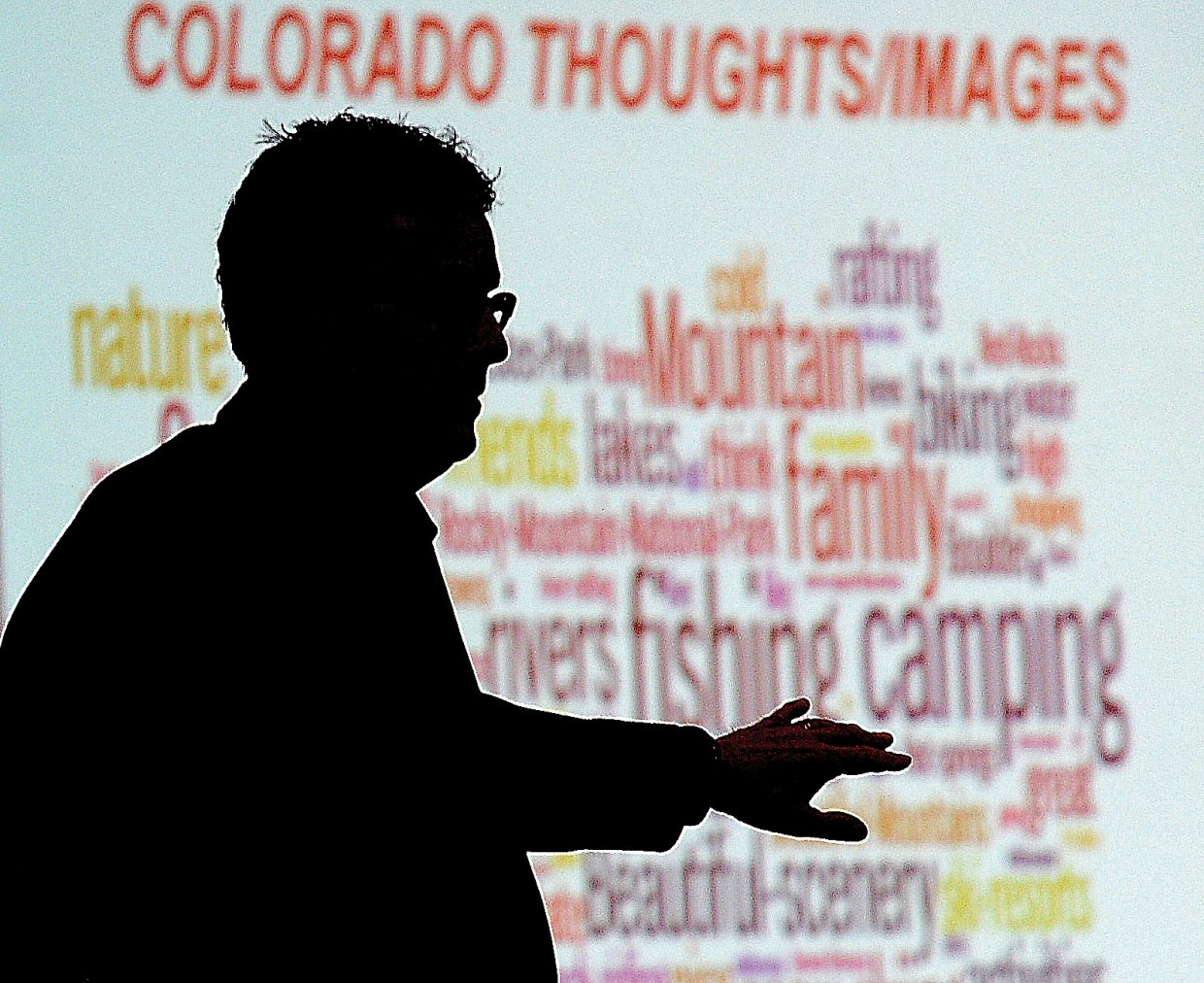 John Ricks, associate director for the Colorado Tourism Office, presents the keynote address at the Navigator Awards luncheon, which was held Tuesday at the Sheraton Steamboat Resort.