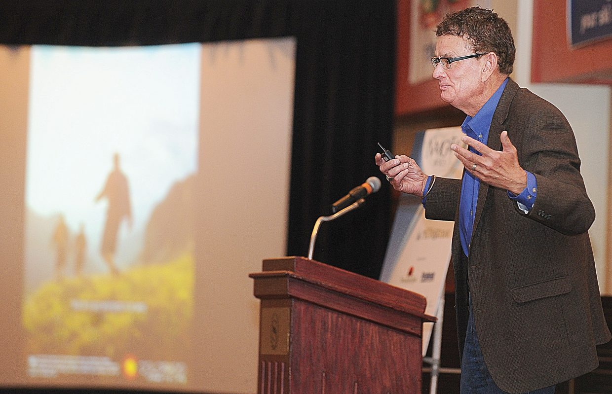 John Ricks, associate director for the Colorado Tourism Office, presents the keynote address at the 2013 meeting and Navigator Awards luncheon, which was held Tuesday at the Sheraton Steamboat Resort.
