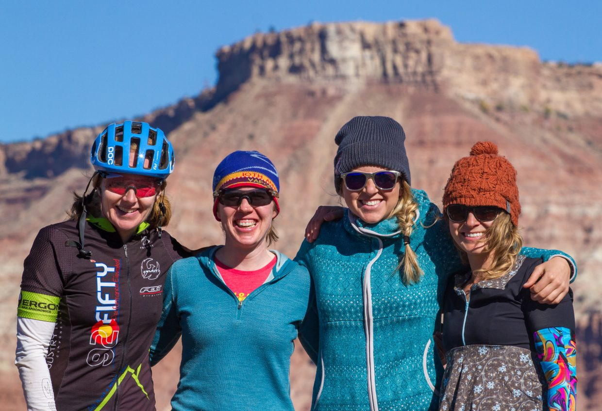 Team Stinger Snack Time, featuring Steamboat Springs riders, Bec Bale, Becky Sears Edmiston, Miranda Schrock, and Helen Brown, won the four-person women's division at the 25 Hours in Frog Hollow mountain bike race in Hurricane, Utah last weekend.