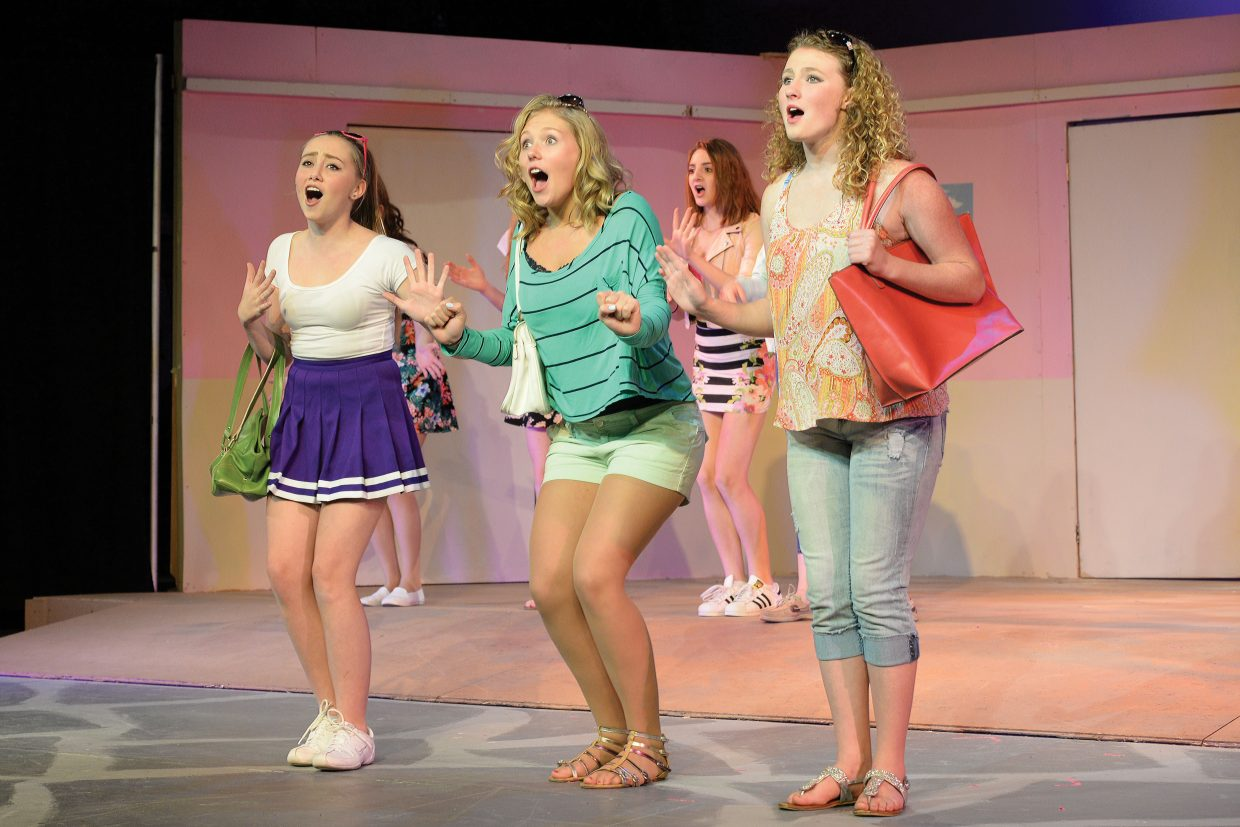 """Steamboat Springs students, from left; Bella Eckburg, Amanda Walker, Daisy Thundstrum and Olicia Hobson belt out a tune in Steamboat Springs High School's production of """"Legally Blonde."""" The musical will take center stage at the Steamboat Springs High School auditorium at 7 p.m. Friday and Saturday. Tickets can be purchased at All That and at the high school. Students can purchase tickets for $5 with an activity pass. Admission is $12 for adults and $20 for reserve tickets, which are sold only at the high school."""