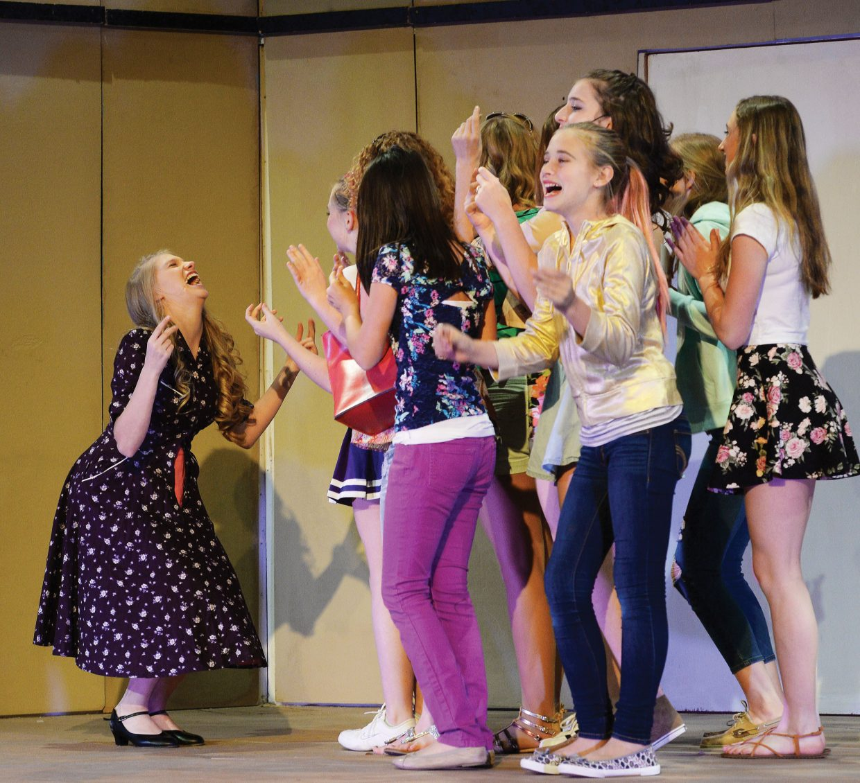"Keala Fraioli and members of the cast react in a scene from the musical ""Legally Blonde."" Steamboat Springs High School will present the musical at 7 p.m. Friday and Saturday at the high school auditorium. Tickets can be purchased at All That and at the high school. Students can purchase tickets for $5 with an activity pass. Admission is $12 for adults and $20 for reserve tickets, the latter of which are sold only at the high school."